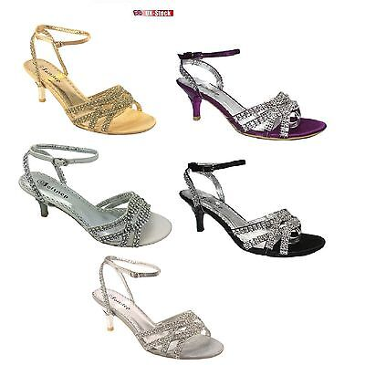 Señoras Mujeres Gatito Tacón Diamante Boda Nupcial Sandalias De Dama De Honor Talla 3-9 S8