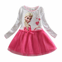 Kids Pinks Elsa Outfit Girls Birthday Garden Party Dresses AGE 2,3,4,5,6,7,8,9Y