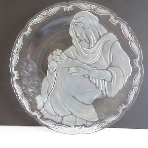 Mikasa-15-in-Platter-Madonna-and-Child-Frosted-Crystal-Glass-Christmas-Holiday