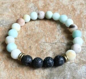 8mm-Volcanic-Amazonite-Bracelet-Handmade-Reiki-Tibet-silver-Chakas-Monk-Wrist