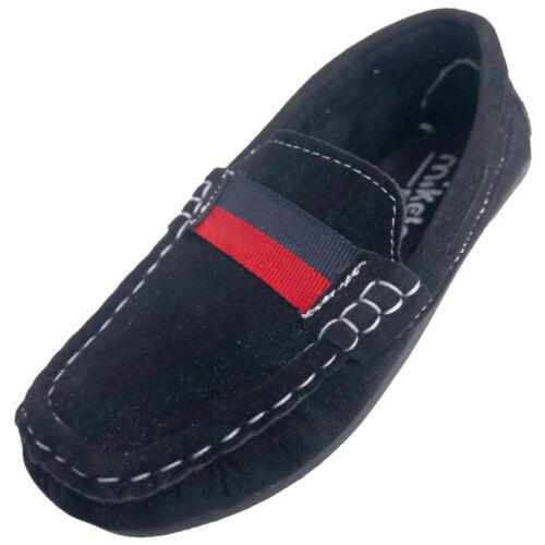 Garçons Mocassins Enfants Bateau Pont en simili daim chaussures de conduite à Enfiler Mocassins Ruban