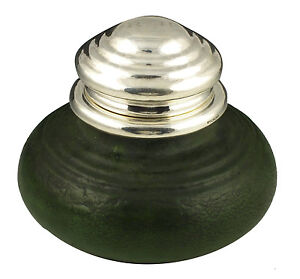 Rare-Grueby-Pottery-Matte-Green-Glaze-Inkwell-w-Sterling-Silver-Top