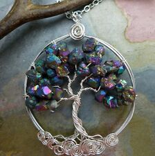Tree of Life Necklace-Rainbow Mystic Titanium Tree of Life Pendant Necklace