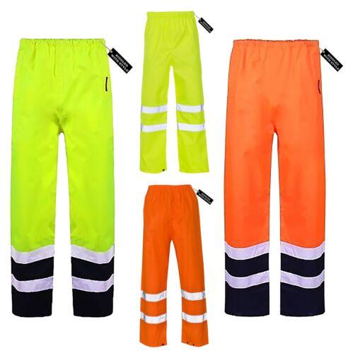Hi Viz Vis High Visibility Plain Rain Cover Pant Boys Safety Waterproof Trouser