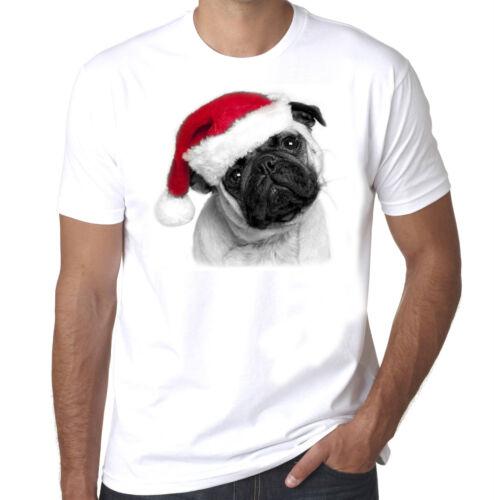 Christmas Pug Puglife Festive mens 100/% cotton tshirt