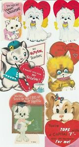 Vintage-Valentines-Lot-of-10-Cat-and-Dog-Cards-Die-Cut-for-Children