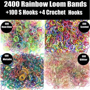 2400-Pcs-Large-Rainbow-Loom-Band-Kit-Bands-Board-Hooks-Glow-In-The-Dark-Rubber