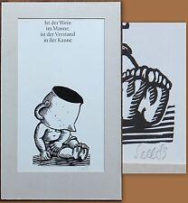 Lothar Sell Original Holzschnitt Ist der Wein im Manne 1983 35 x 22cm - 001