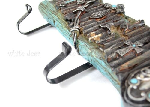 """25/"""" Western Large Wall Hanger 7 Cross Rusty Iron Fence Wire Rot Wood Tone Nail"""