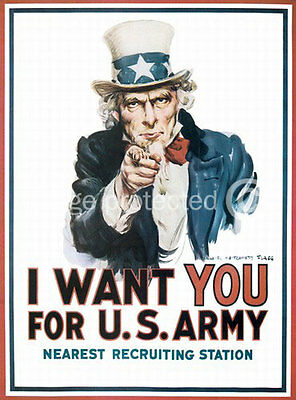I Want You For The US Army Uncle Sam Vintage Poster 18x24