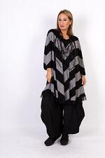 Chalona: estilosa túnica camisa 3/4 brazo gris/negro tul-dobladillo one size 44 - 54