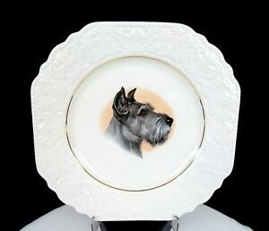 """LORD NELSON POTTERY ENGLAND #2-72 SCHNAUZER TERRIER SCROLL EMBOSSED 8 3/8"""" PLATE"""