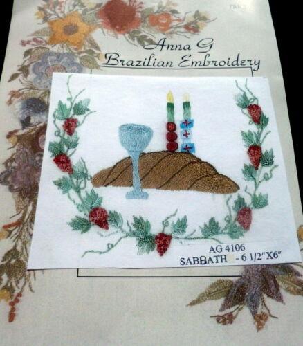"NEW /""SABBATH/"" Anna G Brazilian Embroidery Stamped Linen /& Instruction Judaica"