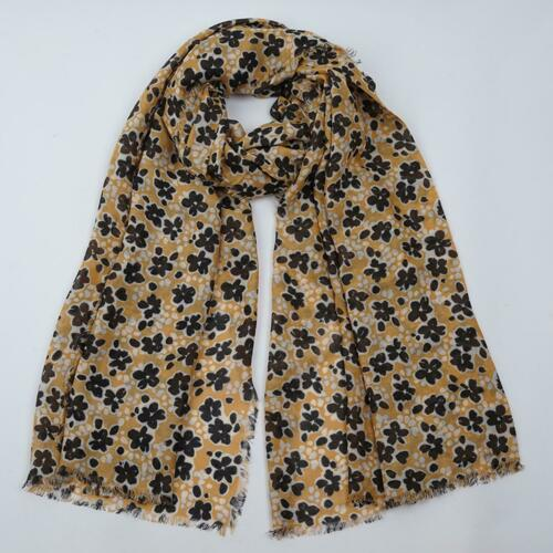 NEW EX FAT FACE MUSTARD YELLOW INKY FLORAL PRINT SCARF