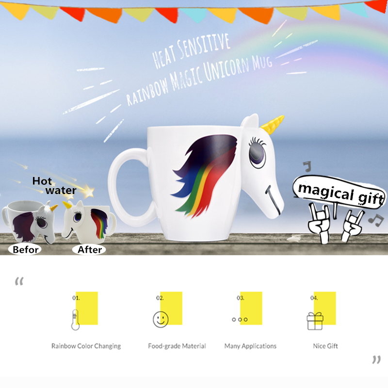 Cartoon Unicorn Mug 3D Ceramic Coffee Cup Color Changing Magical Horse Cups Gift