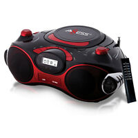 AXESS RED PORTABLE BOOMBOX w/ MP3/CD PLAYER AM/FM USB SD MMC LED REMOTE AC DC