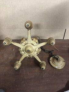 Vintage antique Art deco Art Nouveau Décoration 5 Ampoule électrique Lustre