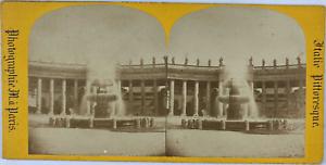 Stéréo, Italie, fontaine à Rome Vintage stereo card,  Tirage albuminé  8,5x1