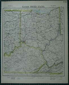 Details about 1883 LETTS MAP ~ UNITED STATES EASTERN OHIO KENTUCKY on map of indiana and wisconsin, map of indiana and tennessee, map of indiana and farmland, map of indiana and chicago, map of indiana and towns,