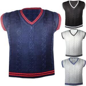Garcons-Nouveau-Gilet-tricot-sans-manches-Pull-Tricot-gilet-Top-Col-V-2-10-ans