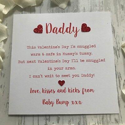 Handmade Baby Bump Valentine's Father's Day Card Poem Daddy Mummy to Be  Birthday | eBay