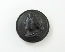 Antique Button Dyed Horn Profile of Lovely Woman Cameo-type Hairstyle & Earbobs