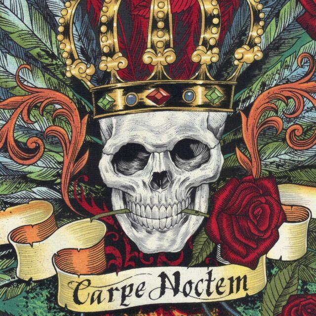 Alexander Henry Gothic Royal Carpe Noctem Skull Fabric in Bright Red - ½ METRE