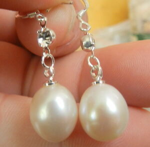 Hot-Natural-10x12mm-White-Akoya-Freshwater-Pearl-Sterling-Silver-Stud-Earrings