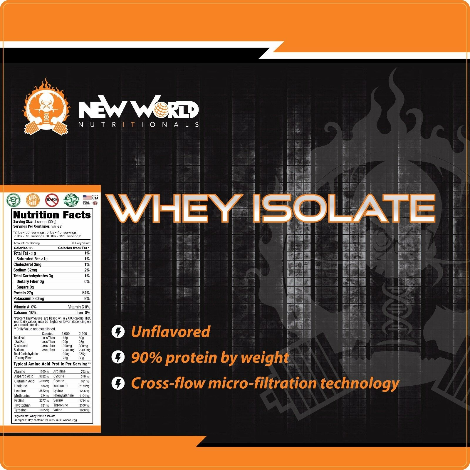 7.5lb Pure Bulk Whey Protein Protein Protein Isolate Direct From Manufacturer VANILLA 1b2318