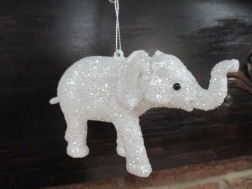 White Sparkly Glittery White Elephant Christmas Holidays Ornament-Beautiful!