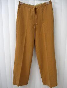 TOMMY-BAHAMA-NWT-100-SILK-PANTS-SIZE-2-RAW-SUGAR-BROWN-STRING-CASUAL
