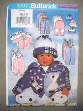 4a0072f5c45 Butterick 5092 Sewing Pattern Infants Fleece Jacket Jumpsuit Pants Hat NB S  M