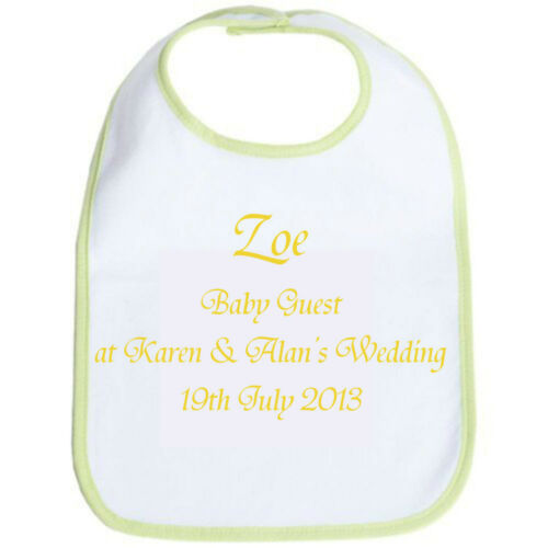 Personalised Baby Bib Ideal for Baby Wedding Guests from 0-3 years Souvenir GIFT