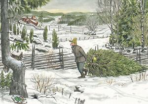 Postkarte: Pettersson und Findus holen den Weihnachtsbaum / Schnee