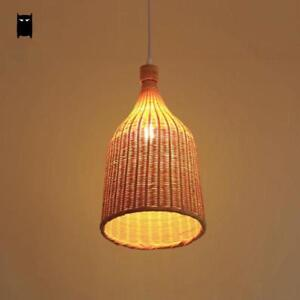 Details About Bamboo Wicker Rattan Basket Shade Pendant Light Fixture Rustic Ceiling Lamp Room