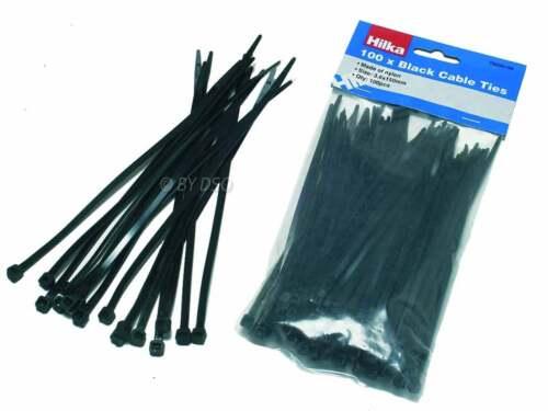 Hilka Commercio Qualità in Nylon Fascette Nero 100 3.6mm x 150mm
