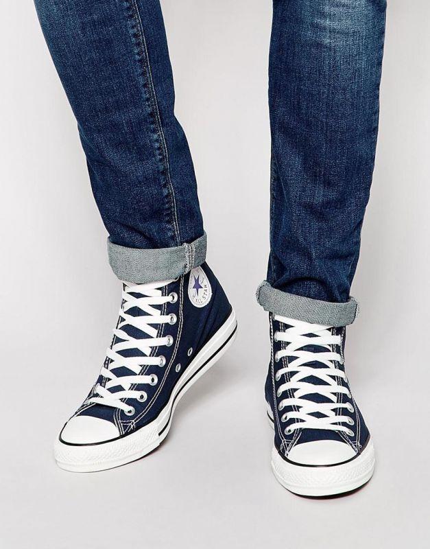 Scarpe casual da uomo uomos Converse Shoes Navy All Star Chuck Taylor Hi Top Shoes navy Blue New