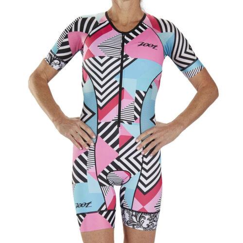 Zoot Damen LTD Tri Kurzarm Aero Racesuit Einteiler Blau Rosa Weiß Triathlon
