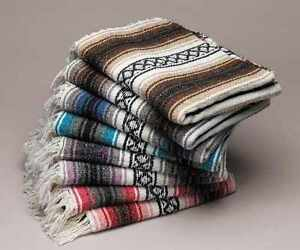 Assorted-Pack-5-Large-Hand-Woven-Falsa-Mexican-Blanket-Yoga-Mat-Throw-Full-Size