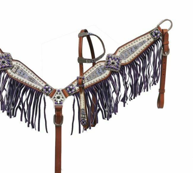 viola Aztec Print One Ear Headsttutti, Reins & viola Fringe Breast Collar nuovo