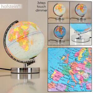 Lampe-de-table-Lampe-de-bureau-Globe-terrestre-Chrome-Lampe-de-chevet-Variateur