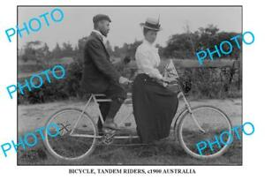 8x6-OLD-PHOTO-OF-PAIR-OF-TANDEM-BICYCLE-RIDERS-c1900