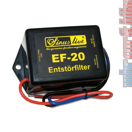 Sinus Live 20A Entstörfilter EF-20 Autoradio Massefilter für Bordnetzgeräusche