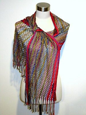 f4a95eb0abb8a NWT AUTHENTIC MISSONI VISCOSE KNIT LIGHT LONG SCARF with TRIMS ORANGE LBL  Italy