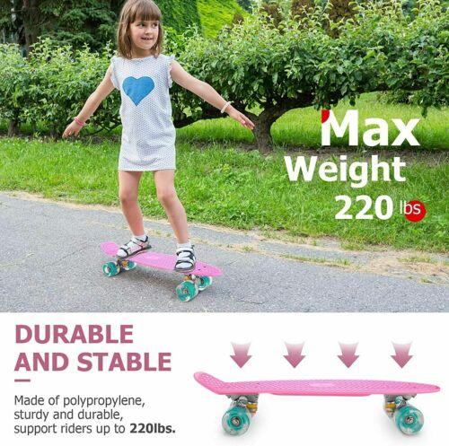 """Miniboard LED 22/"""" Skateboard Cruiser Deckboard Komplett Funboard Pennyboard c 01"""