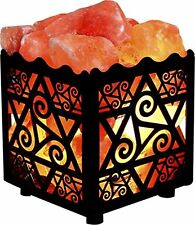 Crystal Decor Natural Himalayan Salt Lamp, Star Metal Basket w/ Dimmable Cord