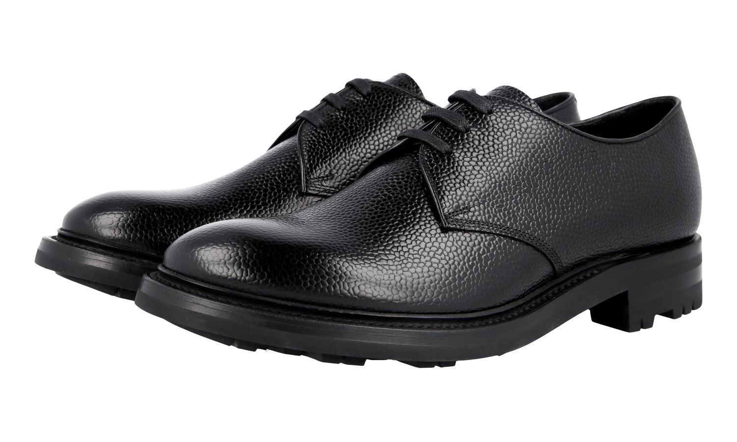 AUTH LUXURY PRADA DERBY BUSINESS SHOES 2EE228 BLACK NEW 10 44 44,5