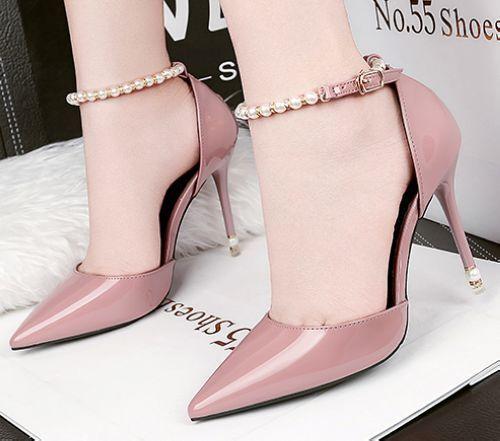decolte Sandaleei stiletto 9 cm comodi eleganti rosa cinturino simil pelle CW990