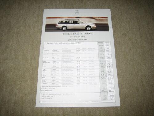 Mercedes E-Klasse T-Modell S210 Preisliste price list von 29.01.2001