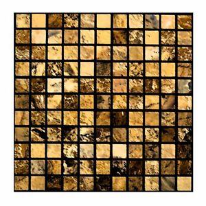 mosaik gold fliesenaufkleber fliesensticker aufkleber sticker badezimmer bad ebay. Black Bedroom Furniture Sets. Home Design Ideas